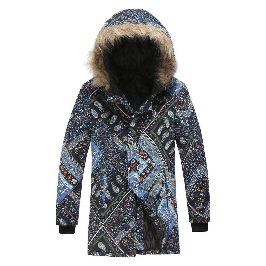 wuliLINL Mens Floral Print Hooded Warm Winter Thicken Cotton-Padded Parkas Long Oversize Coats(Navy-A,XXL) by wuliLINL