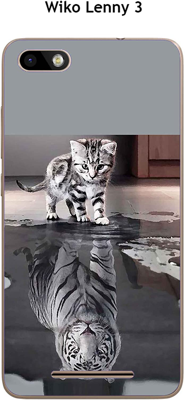 Coque TPU gel souple Wiko Lenny 3 design Chat Tigre Blanc