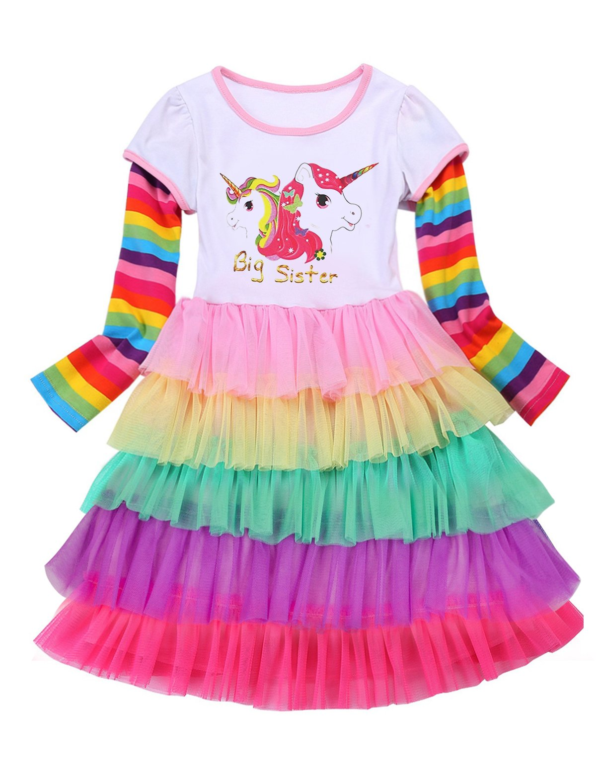 5 Year Old Unicorn Girl Dress Fall Clothes for BigSister2,4-5 Years(Size 120)
