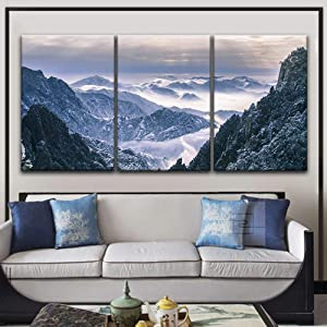 """wall26 3 Panel Canvas Wall Art - Landscape of Snow Covered Mountains - Giclee Print Gallery Wrap Modern Home Art Ready to Hang - 16""""x24"""" x 3 Panels"""
