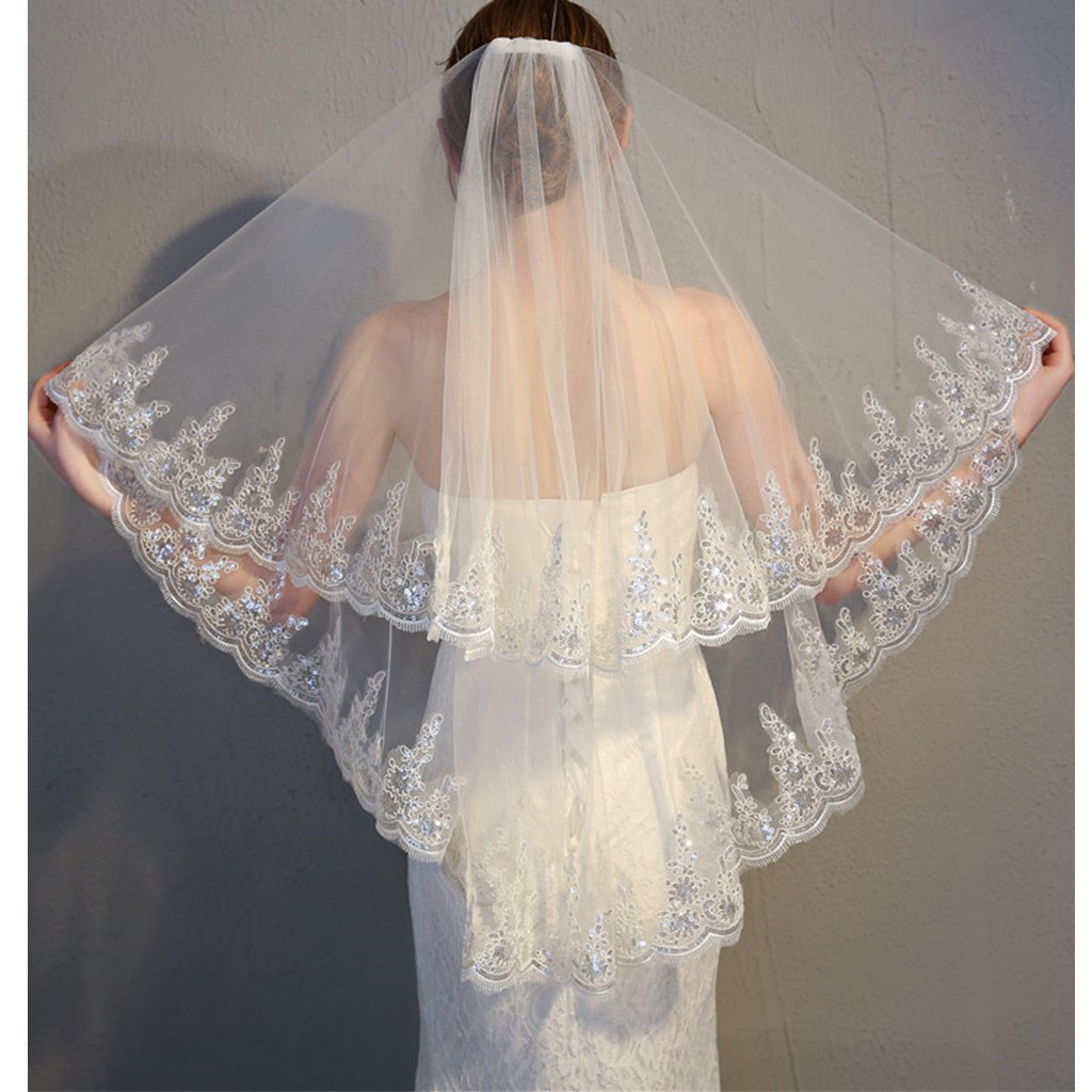 Colorful House 2 Tier Simple Lace Appliques Pearls Wedding Tulle Bridal Veil With Comb (90cm) by Colorful House (Image #2)