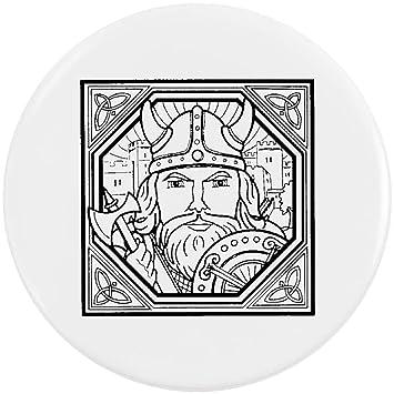 Azeeda 58mm Square Viking Motif Medium Button Pin Badge