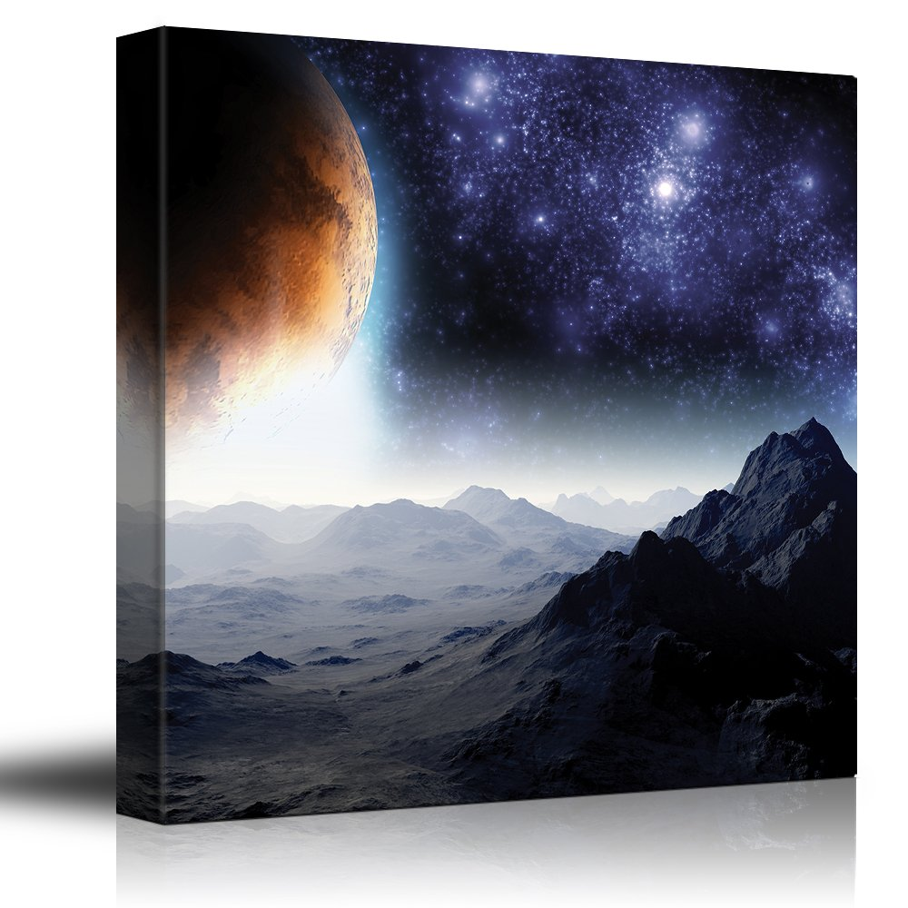 wall26 - Rocky Mountains with View to The Golden Moon and Starry Sky - Canvas Art Home Decor - 24x24 inches