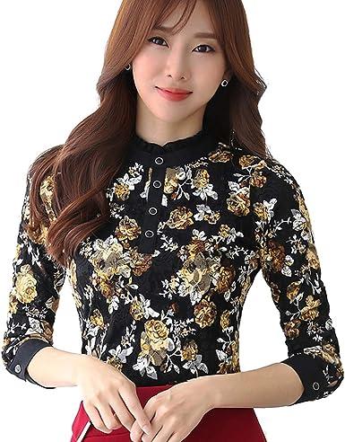 BININBOX - Camisas - Cuello Mao - para Mujer Negro X-Large: Amazon.es: Ropa y accesorios