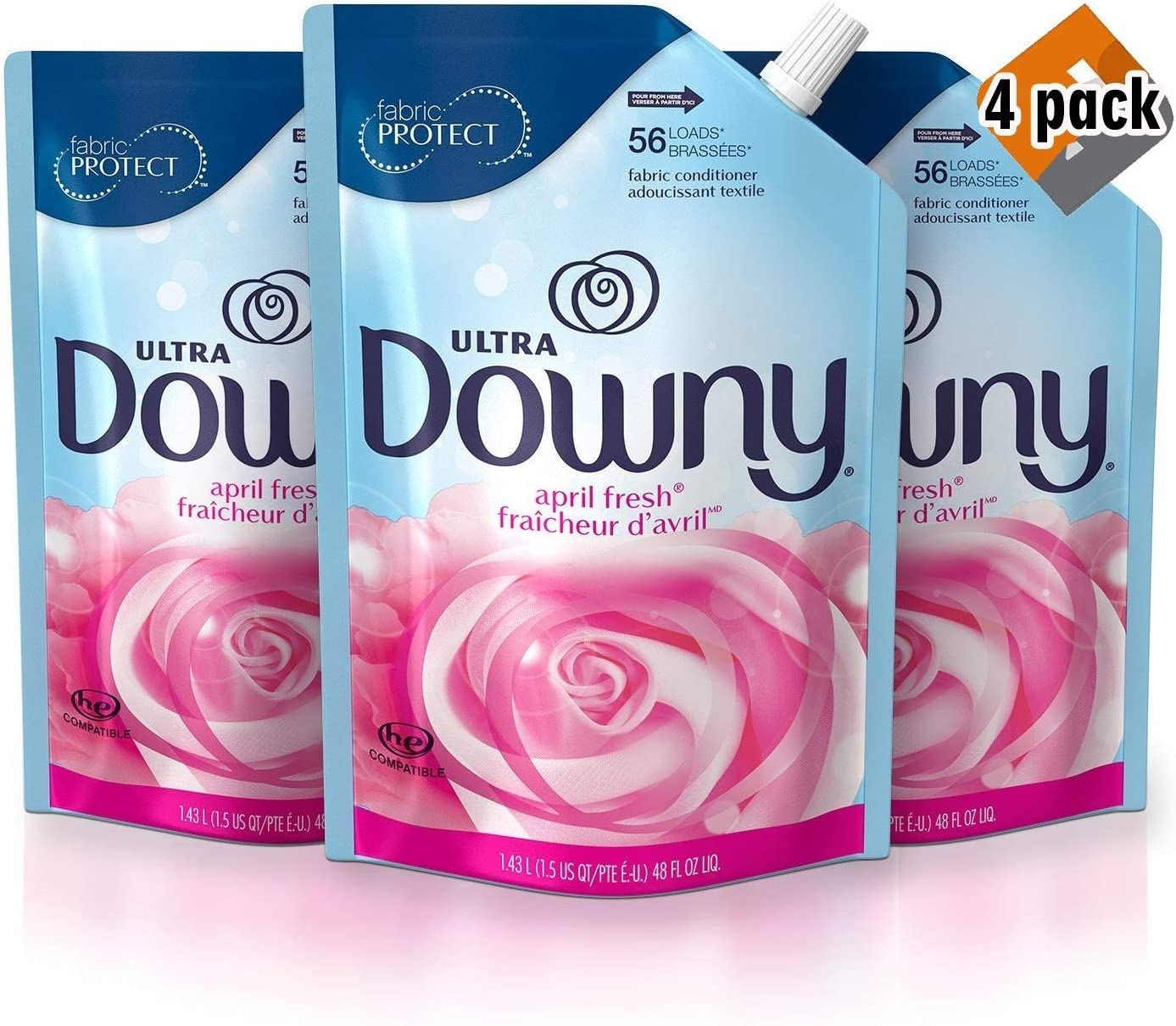 Downy Ultra April Fresh Liquid Fabric Conditioner Smart Pouch, Fabric Softener - 48 Oz. Pouches, 12 Pack