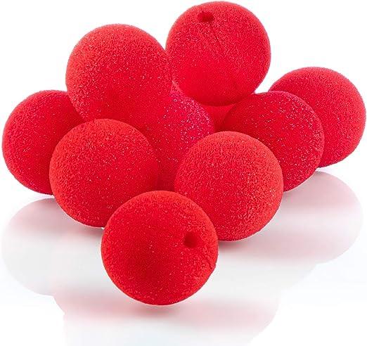 com-four® 10x nariz de payaso de espuma - nariz falsa en rojo para ...