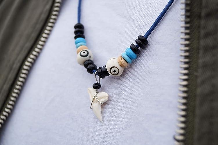 Surferkette Herren Damen Haizahn-Kette Made by Nami - mit Ketten-Anhänger Haifisch-Zahn Surfer Hai Jamaika Blau