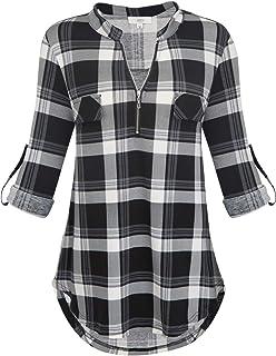 dbbc1b2f583129 Jdaxiy Womens 3/4 Rolled Sleeve Plaid Shirt Zip V Neck Tunic Top Flannel  Casual