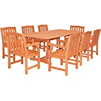 Vifah V232SET21 Rectangular Extension Table & Wood Armchair 9-Piece Outdoor Dining Set