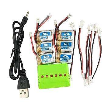 Fytoo 6pcs 3.7v 150mAH Lipo Batería & 6 en 1 Cargador & 6pcs Cable ...