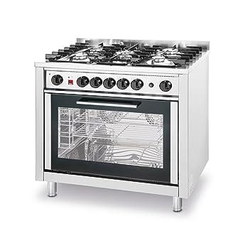 Hendi 225707 Cocina de gas 5 quemadores con horno electrónico ...
