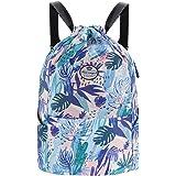 Drawstring Backpack Sports Bag-Gym String Bag with Side Pocket Sackpack