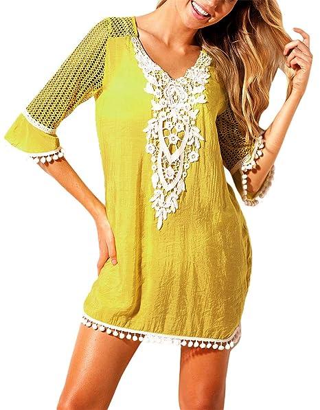 e1b2b27cd106 EDOTON Camisolas y Pareos para Mujer, Blusa Vestido Crochet Pom Pom Ajuste  Playa Túnica Traje de Baño
