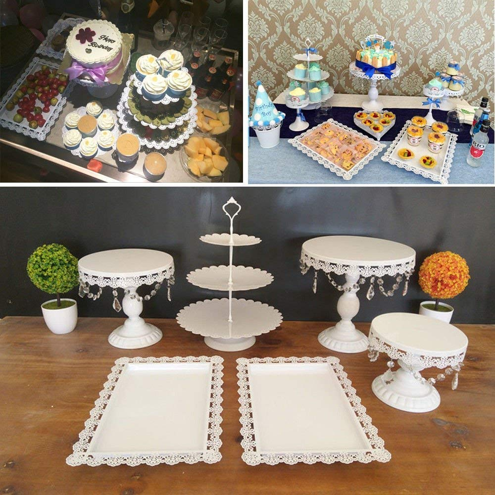 6 Set Metal Crystal Cake Holder Cupcake Stand Cake Dessert Holder with Pendants and Beads,Wedding Birthday Dessert Cupcake Pedestal Display,White (6)