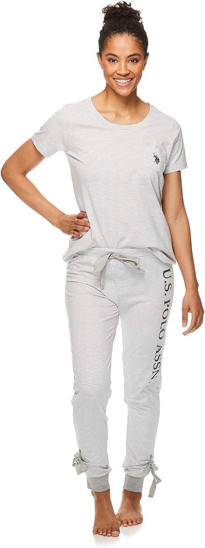 Polo Assn U.S Womens Short Sleeve Shirt and Lounge Skinny Pajama Pants Sleepwear Set