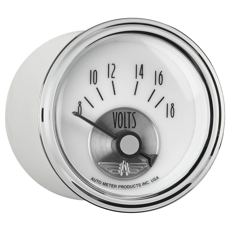 Auto Meter 2094 Prestige Pearl 2-1/16' 8V - 18V Electric Voltmeter Gauge (52.4mm)