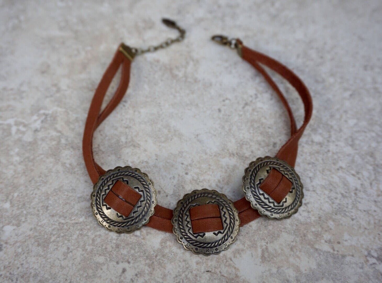 Brown Genuine Leather Brass Metal Concho Choker Bohemian Western Necklace