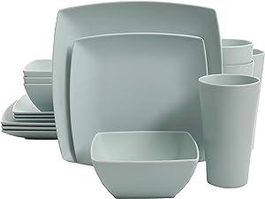 Gibson Home Soho Grayson Square Melamine Dinnerware Set, Service for Four (16pcs), Mint
