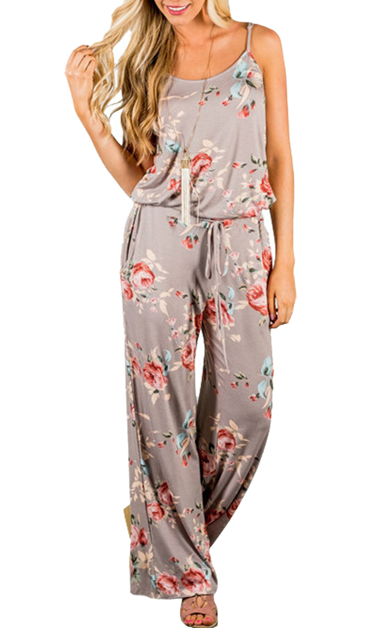 ECOWISH Womens Summer Floral Printed Halter Sleeveless Casual Strap Jumpsuit, Khaki, Large