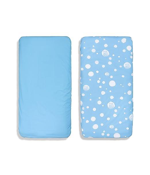 100% algodón orgánico para cuna sábana bajera ajustable (azul ...