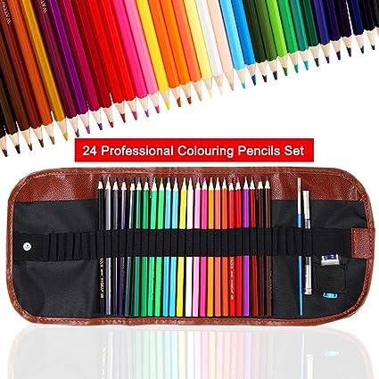 24 Piezas Set Estuche Enrollable para Adultos y Niños, TOYESS Lápices de Colores Profesional para Artistas Pintura y Bocetos de Mezcla de Colores Profesionales: Amazon.es: Oficina y papelería