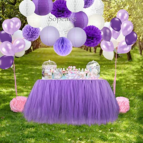 Sopeace Party Decoration Kit Purple White Tissue Paper Pom Poms Flowers Papers Lanterns Paper ball and Latex Balloons Birthday Wedding Christening ...