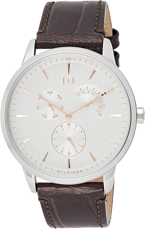 Tommy Hilfiger Reloj Multiesfera para Hombre de Cuarzo con Correa en Cuero 1710389