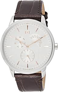 Tommy Hilfiger 1710389 Mens Quartz Watch, Analog Display and Leather Strap, White