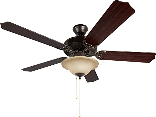 Hyperikon 52 Inch Ceiling Fan, 60W, Remote Control and Pull Chain, Rust Body, 5 Blades, Frosted Dome Light E12 Screwbase, Mahogany