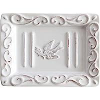 Pre de Provence - Jabonera con acabado de terracota lavado en blanco, Plato para jabón, Soap Dish, Plato para el jabón