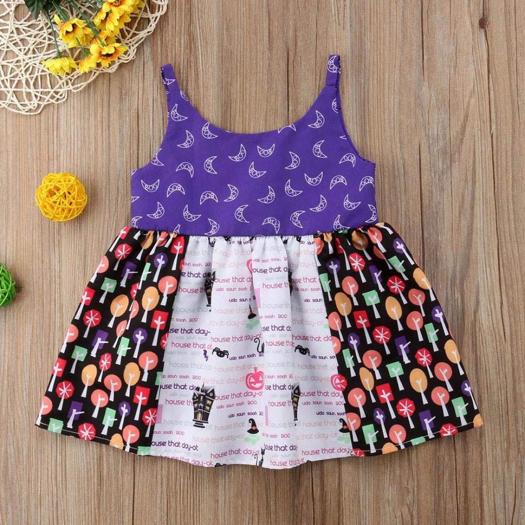DEELIN VíSpera De Todos Los Santos De La NiñA Bebé Estampado Sin Mangas Sling Dress Disfraz De Halloween Mini Falda PúRpura: Amazon.es: Ropa y accesorios
