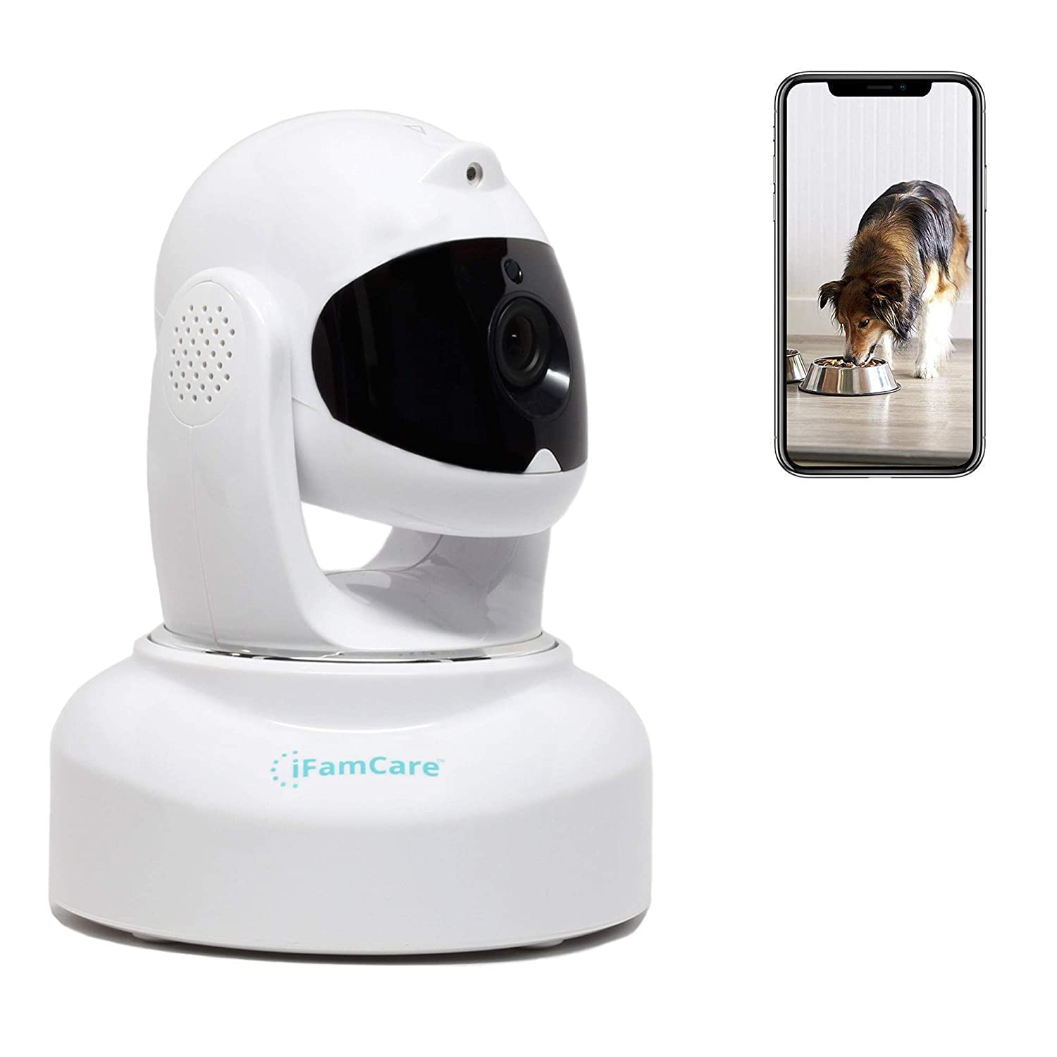 iFamCare WiFi Security Camera 1080P Wireless Video Home Monitor Pet Camera Two Way Night Vision Motion Alert Specially with Pet Play Laser for iOS Android