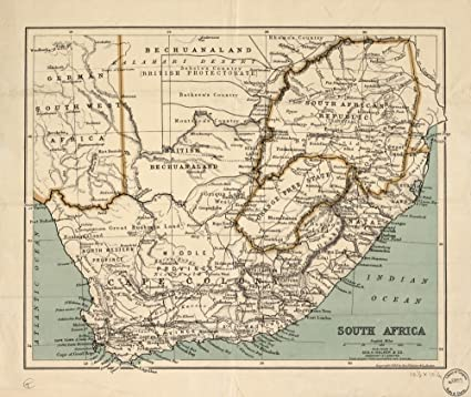Amazon.com: Vintage 1899 Map of South Africa. South Africa: Home