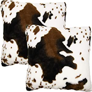 Sweet Pig Pack of 2 Cow Pillow Covers Throw Cases Cushion for Sofa Couch Home Decor Bedroom Living Room Car Farmhouse Animal Skin Pattern Fur Soft Comfortable Cozy 18x18 Inches (Coffee)