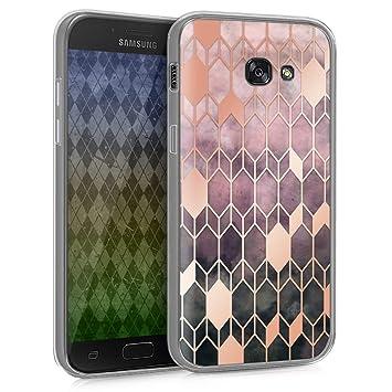 kwmobile Funda para Samsung Galaxy A5 (2017) - Carcasa de TPU para móvil y diseño de Rombos en Rosa Fucsia/Oro Rosa