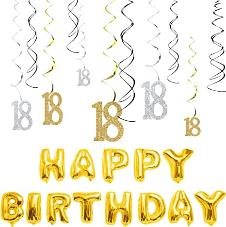 18th Birthday Party Supplies SPARKLING SWIRL DECORATIONS Pack Of 12