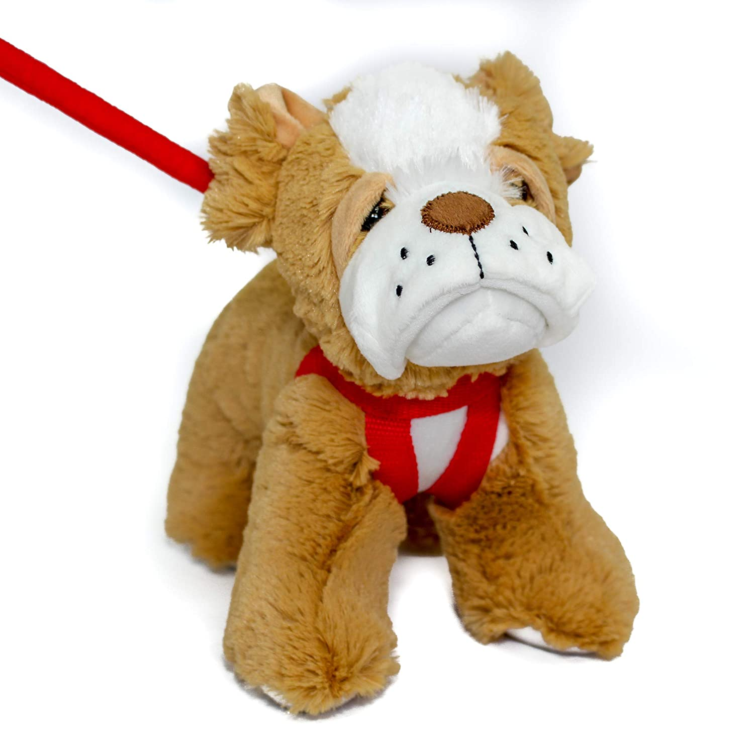 FunStuff Stuffed Animal Plush Toy- Bulldog Brown Dog on a Retractable and Removable Leash