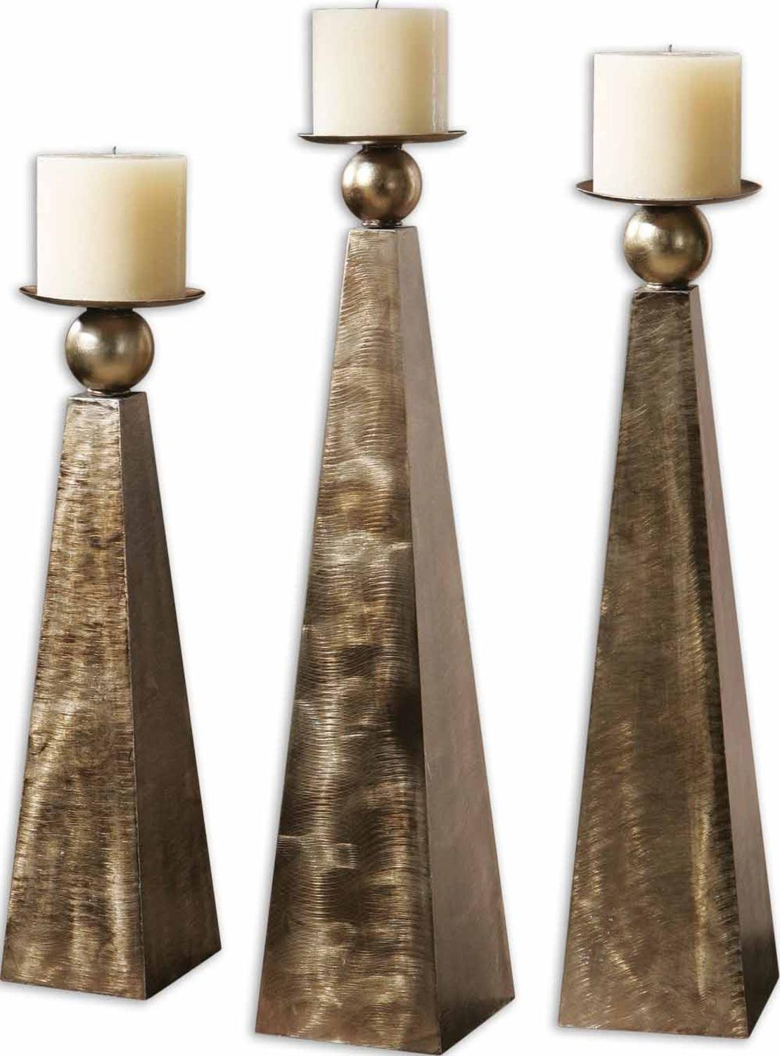 Set of 3 Antiqued Brushed Bronze Metal Pedestal Pillar Candle Holders 26''