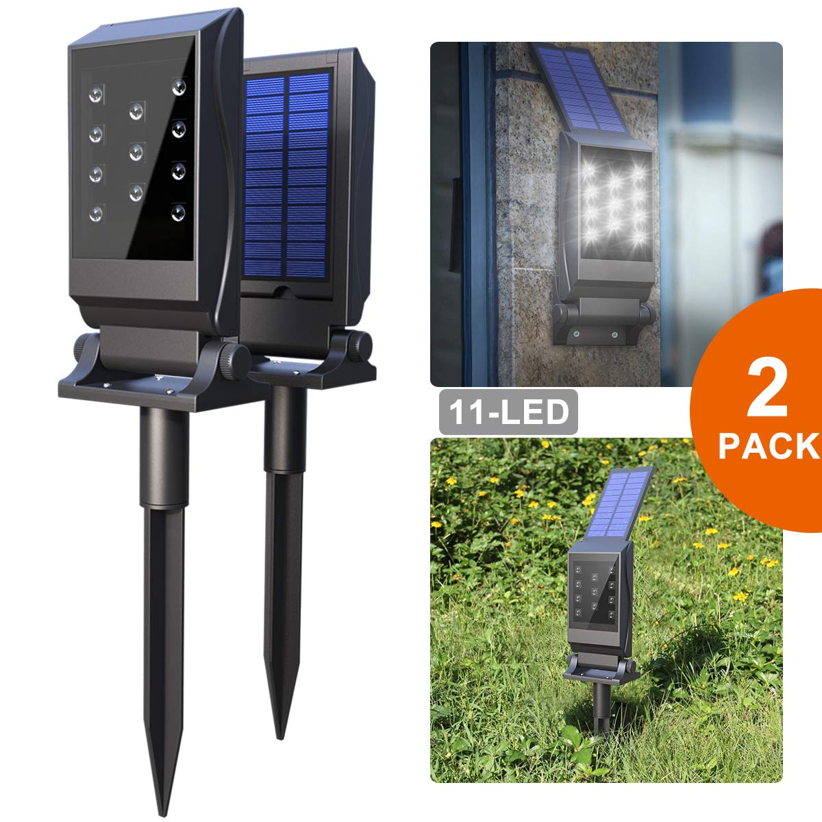 Avaspot Solar Spotlights,【2018 NEW VERSION】2 PACK 11 LED Solar Lights, Waterproof Solar Landscape Lights, 180°Adjustable Outdoor Security Lighting 2-in-1 Solar Wall Light for Patio Yard Driveway, 2PCS by Avaspot