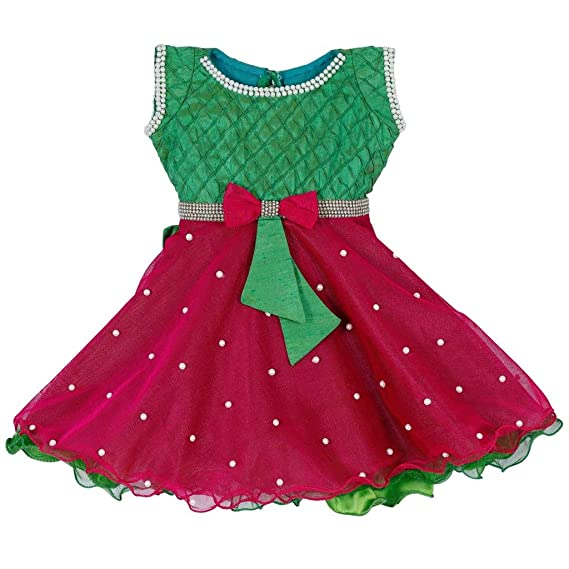91f0608016a8f LAVIS Latest Designer Baby Girls Green and Pink frock