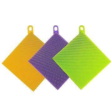 Estropajo, toalla, esponja antiadherente para lavar platos, de silicona, antibacterial, cuadrado