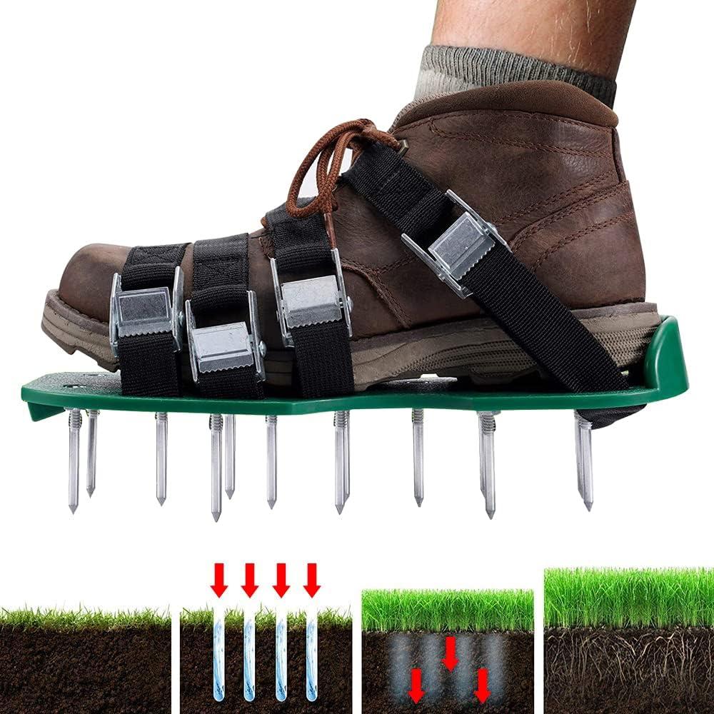 YushengTai Aireador de zapatos de césped, suela larga, 30 cm, aireador manual, aireador de jardín para aireación césped y jardín, Lawn Aerator Shoes