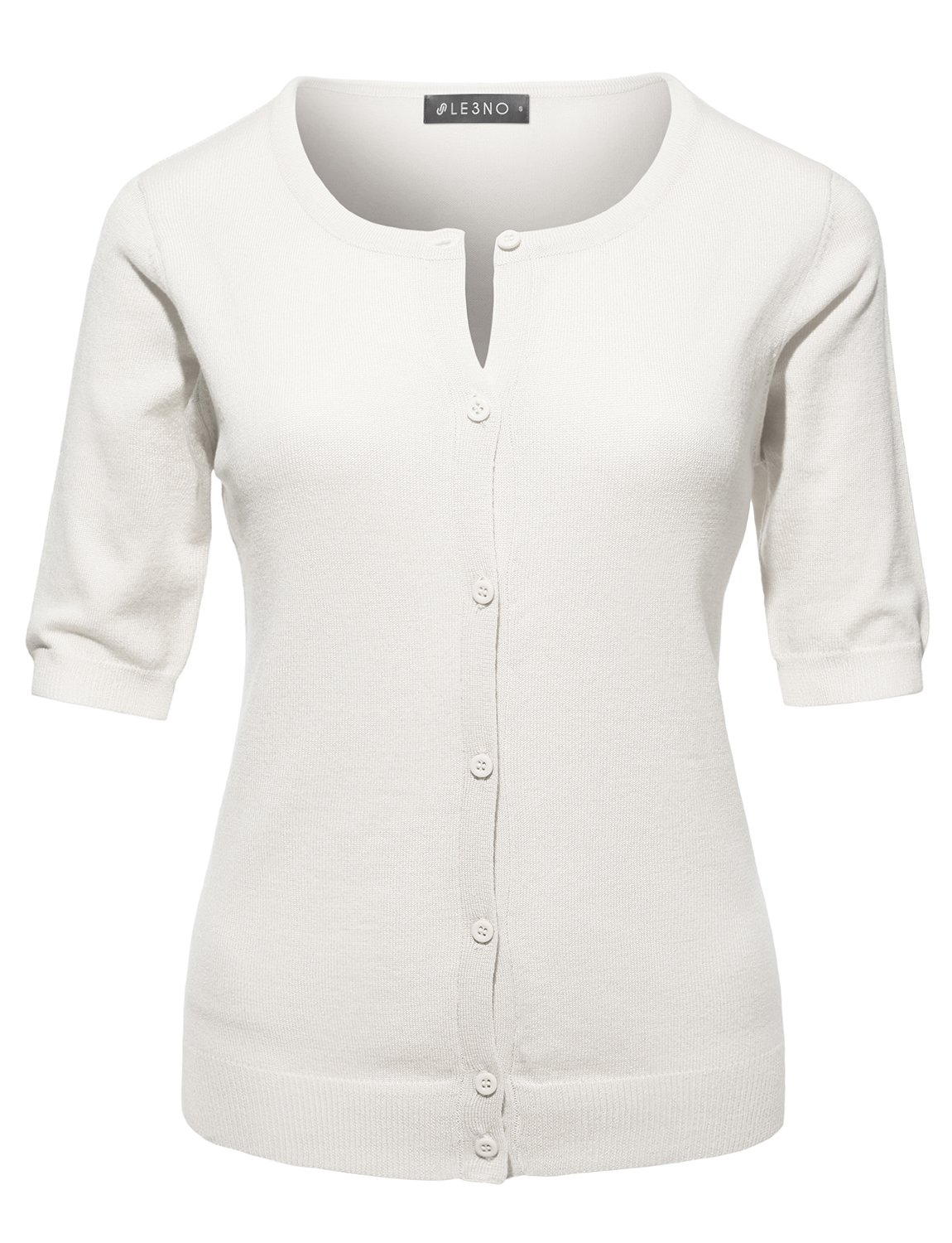 LE3NO Womens Fitted Short Sleeve Fine Knit Cardigan
