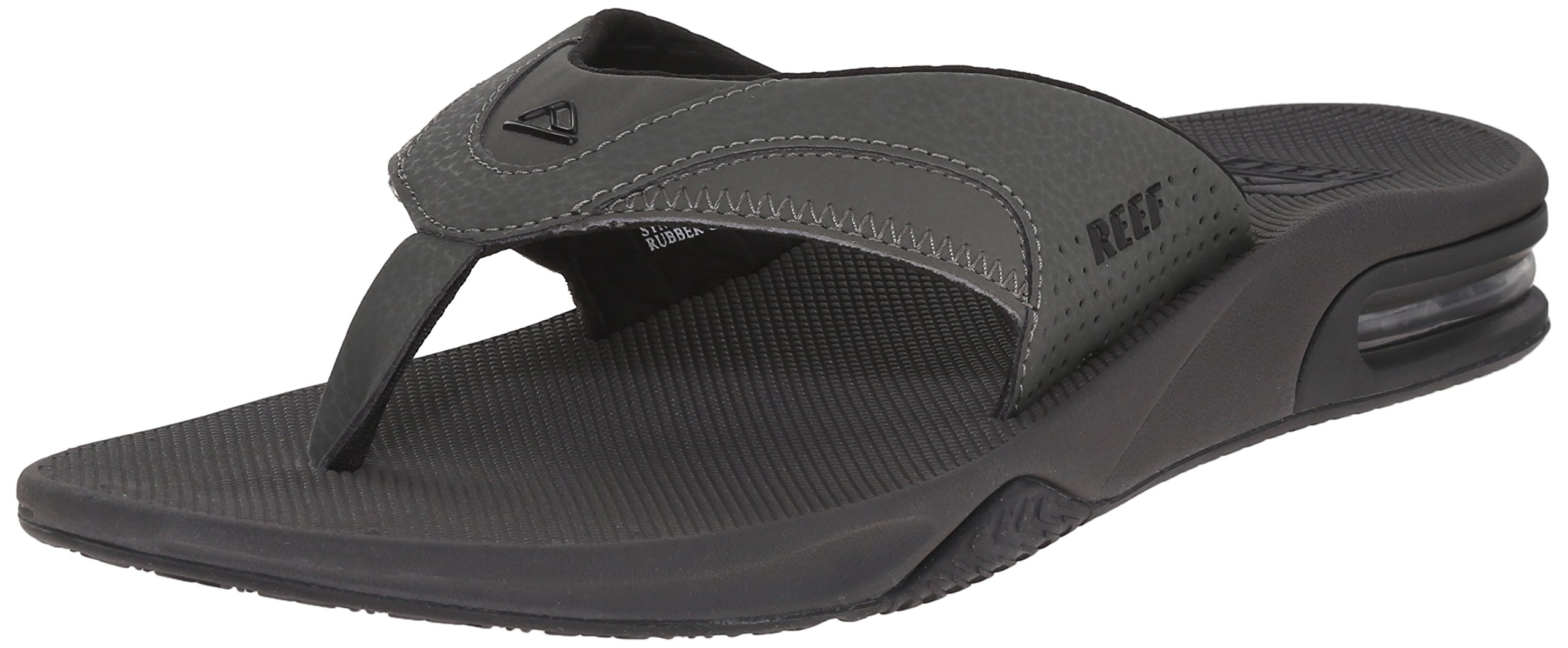 Reef Men's Fanning Flip Flop, Grey/Black, 17 D-Medium