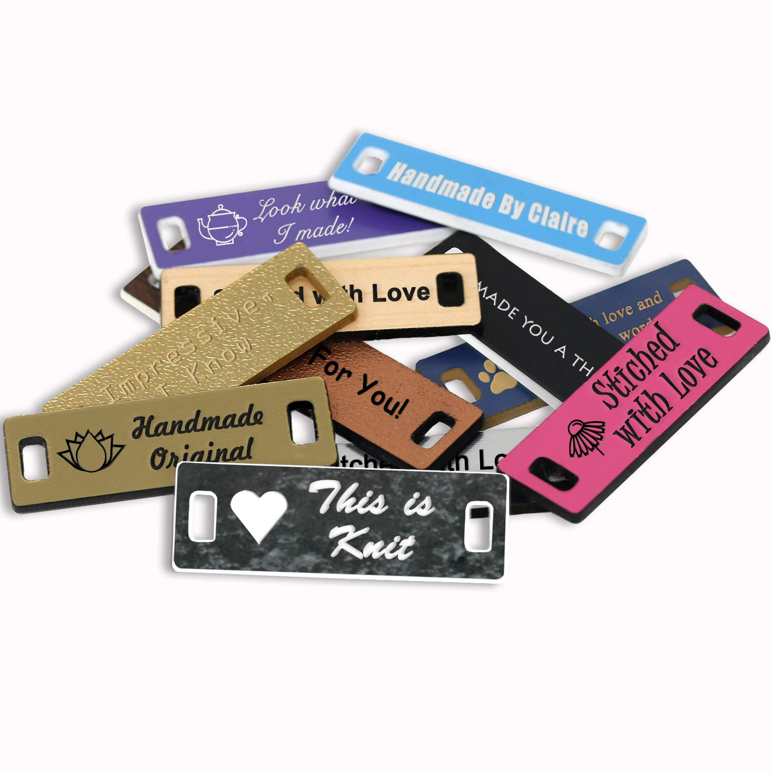 LHS Engraving B4 Personalized Handmade Tags Custom Engraved Yellow Plastic Sewing /& Knitting Notions Black Lettering USA