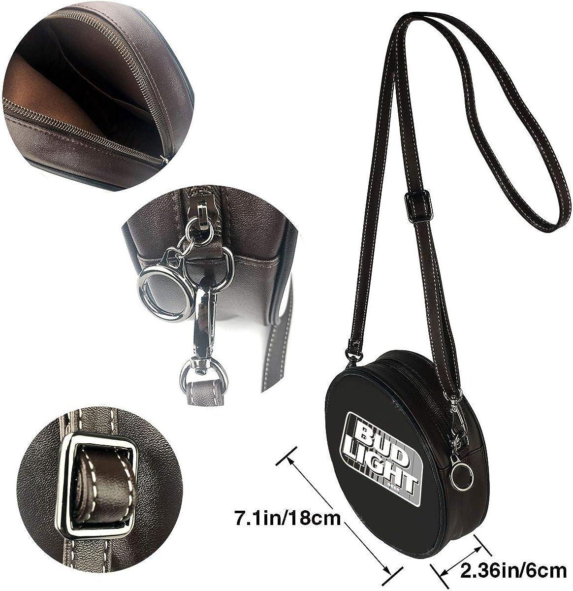 Bud Light Beer Logo Leather Round Crossbody Shoulder Bag Top Handle Tote Handbag Bag