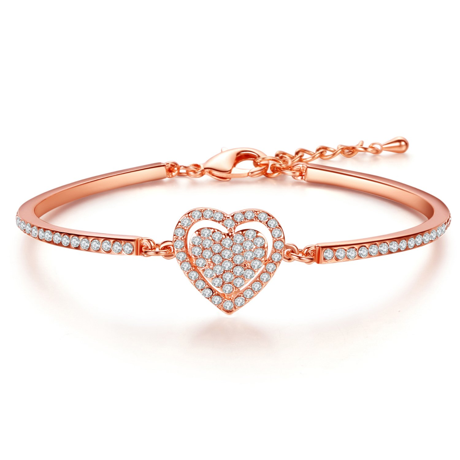 a718948a04bd J.Fée FINE JEWELLERY Sweetheart Rose Bracelet White Gold Plated   Rose Gold  Plated Swarovski Crystal Bangle - Gift for Her♥