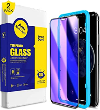 SmartDevil [2 Pack Protector Pantalla de iPhone 11 Pro/iPhone XS/X,Cristal Templado,Vidrio Templado [Fácil de Instalar] [Anti-Luz Azul] [Garantía de por Vida] para iPhone 11 Pro/iPhone XS/X: Amazon.es: Electrónica