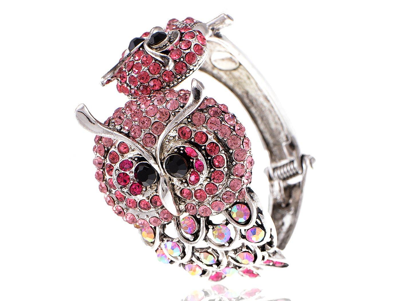 Alilang Rose Pink Fuchsia AB Crystal Rhinestone Owl Pair Love Birds Bracelet Bangle Cuff