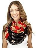 Women's Patriotic American Scarves USA Flag Loop Circle Infinity Scarf